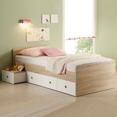 jugendbett einzelbett bett kinderbett winnie eiche s gerau dekor 90 x 200 cm eur 149 00. Black Bedroom Furniture Sets. Home Design Ideas