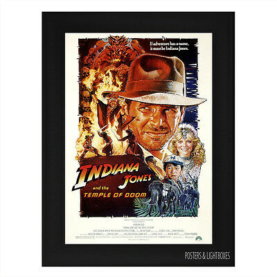 INDIANA JONES & THE TEMPLE OF DOOM Framed Film Movie Poster A4 Black Frame