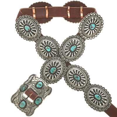 Navajo Old Pawn Style Antiqued Silver No 8 Nev Turquoise Concho Belt Made in USA