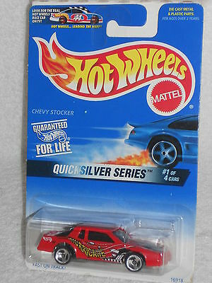 Hot Wheels 1997 Quicksilver Series 1/4 #545 Chevy Stocker  Red w/ Unpainted Base