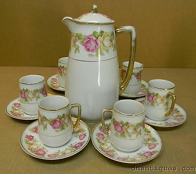 PRINCE REGENT BAVARIA PAINTED ROSE FLOWERS 13p Demitasse Coffee Pot Cups Saucers