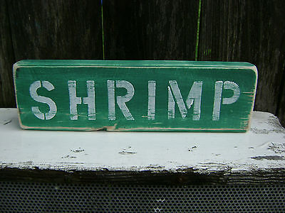 12 Inch Wood Hand Painted Shrimp Sign Nautical Maritime Seafood (#s045)