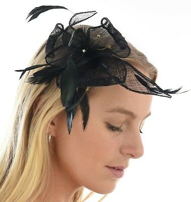 Spring Race Racing Melbourne Cup Party Wedding Feather Fascinator Clip Pin Black