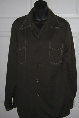 """Vintage Early 70""""s Farah Time Out Mens Brown Polyester Button Down Shirt M / L"""