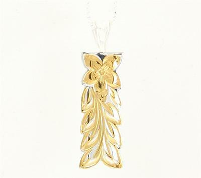 Silver 925 12Mm Hawaiian Plumeria Maile Leaf Vertical Pendant Yellow Gold Plated