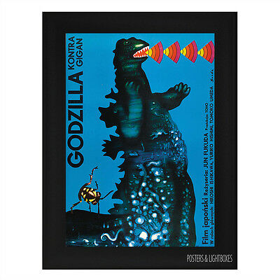 GODZILLA Vs GIGAN POLISH Framed Film Movie Poster A4 Black Frame