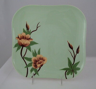"""WEIL WARE Dinner Plate, Green Blossom CORALENE, 9 7/8"""" square"""
