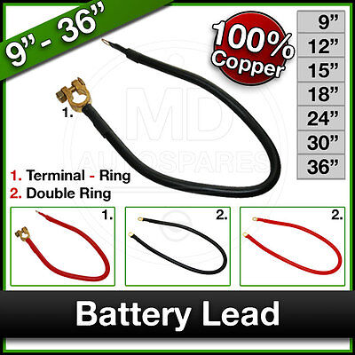 """Car Van Tractor Boat BATTERY LEAD Earth CABLE Copper Terminal / Ring 9"""" - 36"""" x1"""