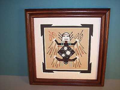 "Navajo Framed Sand Painting w/ Father Sky Figure by Wilton Lee 7"" x 7"" NEW"