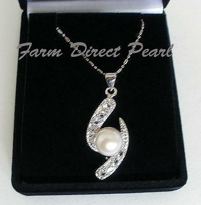 """AAA White Pearl CZ Pendant Necklace 18"""" Genuine Cultured Freshwater"""