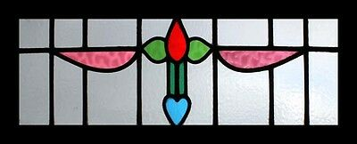 Victorian Floral English Antique Stained Glass Transom Window