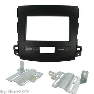 CT23MT01 MITSUBISHI OUTLANDER 2007 to 2013 BLACK DOUBLE DIN FASCIA FACIA ADAPTOR