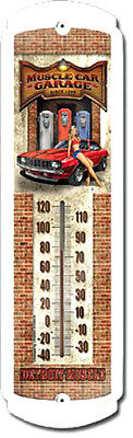 """Nostalgic MUSCLE CAR GARAGE DETROIT Outdoor or Indoor METAL THERMOMETER 17"""""""