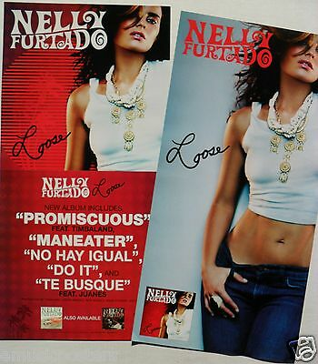 "NELLY FURTADO ""LOOSE"" 2-SIDED U.S. PROMO POSTER/BANNER - Folk, R&B, Latin Pop"