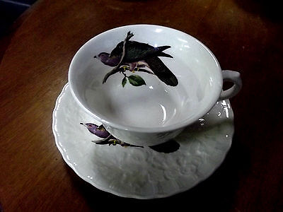 Alfred Meakin England  Birds of America Tea Cup & Saucer Band tailed Pidgeon