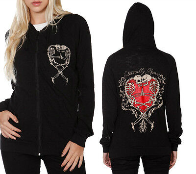 Too Fast Eternal Skeleton Skull Tattoo  Gothic Punk Emo Hoodie Jacket Goth Shirt
