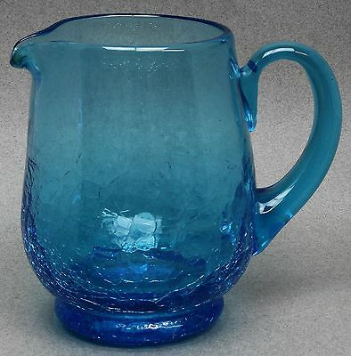 """Beautiful Antique HEAVY HAND-BLOWN MARINE BLUE CRACKLE GLASS PITCHER 5-3/4"""" TALL"""