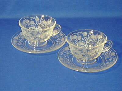 FOSTORIA CRYSTAL BUTTERCUP 2 CUP AND SAUCER SETS EXCELLENT CONDITION!