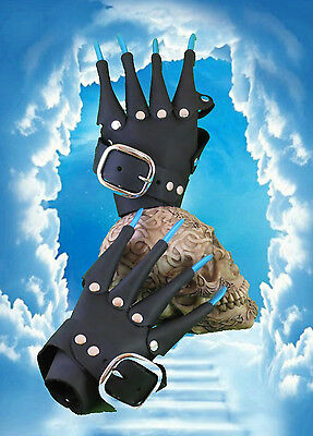 Black Leather Blue Claw Gauntlets Gothic Gloves