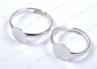 Wholesale 50Pcs Silver Plated Adjustable Flat Ring Pad Bases Blanks Findings