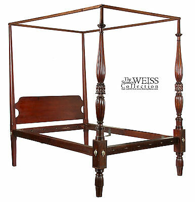 SWC-Federal Sheraton Tall post Bed with acanthus leafed foot posts, Salem, c1820