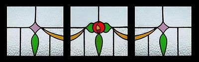 Art Deco Rose Set Of 3 English Stained Glass Windows In Original Frames