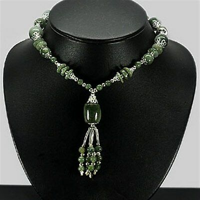 354.40 CT ~  JADE ~ Green Bead and Nickle ~ NECKLACE 26 Inch ~ NATURAL GEMSTONE