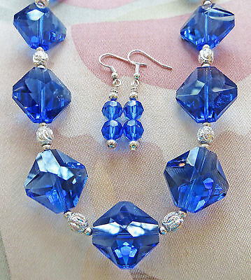LARGE SAPPHIRE CRYSTAL, SILVER PLATE LASER CUT BEAD necklace, earrings 18""