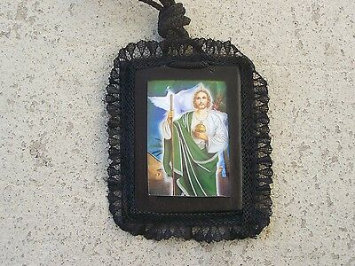 LARGE Black Leather/Lace Saint Jude with Dove Scapular Necklace #1 - Mexico