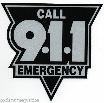 """EMERGENCY CALL 911 HIGHLY REFLECTIVE DECAL  3"""" -  BLACK AND SILVER Call 911"""