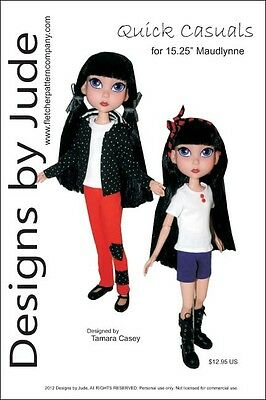 Fashion Forward Doll Clothes Sewing Pattern 15.25 Maudlynne /& LittleMissMatched