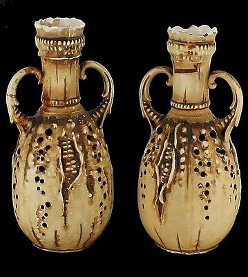 Striking Antique Teplitz Art Nouveau Amphora Pair Austrian Organic Corn Forms 7""