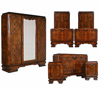 1930s Antique Art Deco Bedroom burl walnut camera da letto radica noce - MA H73