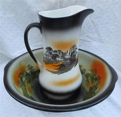 Antique/Vintage England Empire Works Stoke on Trent Pitcher & Bowl Country Homes