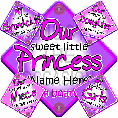 PINK & LILAC MULTI Personalised Princess Diva Grandchild Baby on Board Car Sign