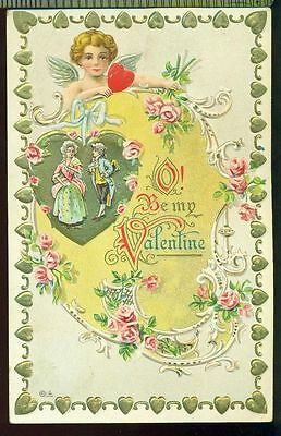 E NASH Be My Valentine  Cherub Roses Couple in Gold Hearts Vintage 1910 Postcard