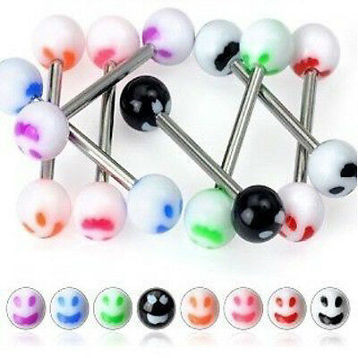 T#161 - 25pc Smiley Face UV Acrylic Tongue Rings 14g Tounge
