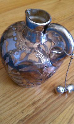 Sterling Silver Overlay & Glass Whiskey  Decanter 7 inches tall