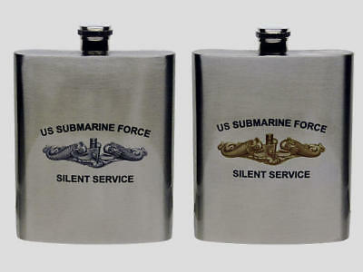 Submarine Insignia Silent Service Flask YOUR CHOICE Silver or Gold Dolphins