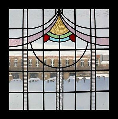 Art Deco English Stained Glass Window Original Sash Frame