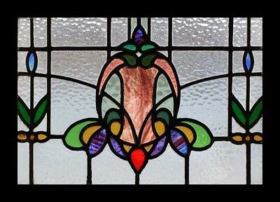 Art Nouveau Floral English Antique Stained glass Window