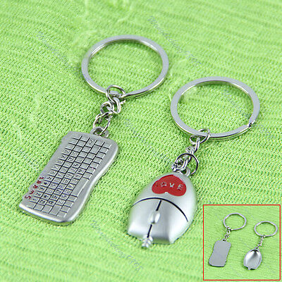New Pair Beautiful Keyboard And Mouse Pendant Key Chain Lover Gift