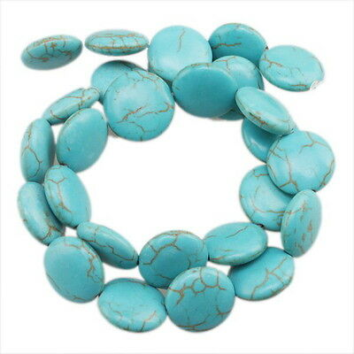 2string Wholesale Disc Oblate Gemstones Turquoise Beads 16mm 110203