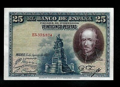 Spain Extremely Rare Gorgeous Banknote Spain 25 Pesetas 1928 Uncirculated (P.3)