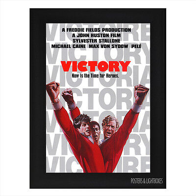 ESCAPE TO VICTORY PELE STALLONE CAINE Framed Film Movie Poster A4 Black Frame