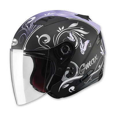 Of77 Cruiser Motorcycle Purple Butterfly Helmet Retractable Visor Full Shield