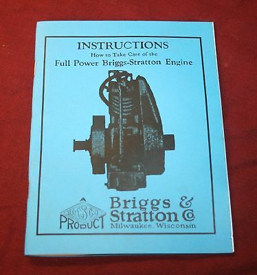 Briggs Stratton Gas Engine Motor F FC FB Manual Instruction Parts Book Hit Miss