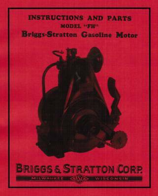 Briggs & Stratton FH FI Gas Engine Motor Manual Parts Instruction book hit miss