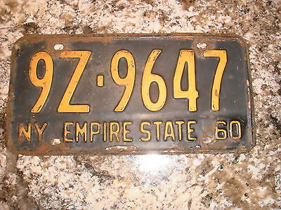 1960 New York License Plate 9Z 9647