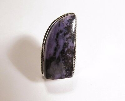 Very Attractive Deep Lilac Charoite Silver Ring Size 6.75   CHAR2